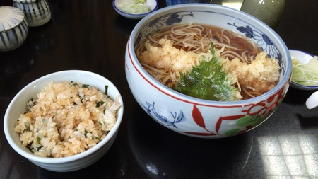 天ぷらそば&揚げ玉混ぜご飯